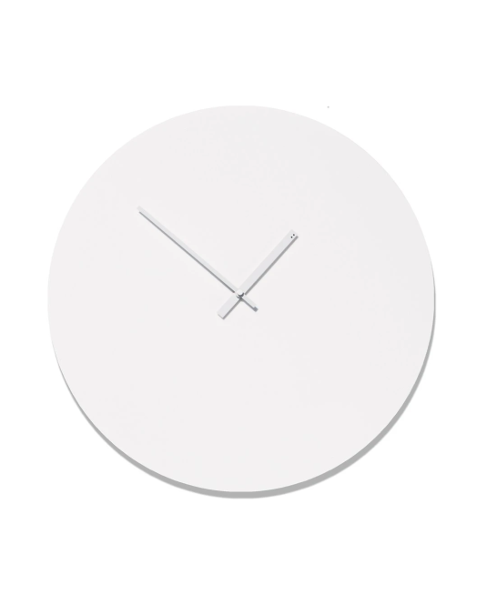 MM#LR-WW-ND - Minimal Clock - Matte White - Large - White Hands - No Dial Holes